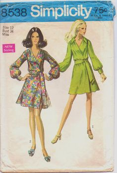 1960s Simplicity Pattern 8538 Womens Mod Front Wrap by CloesCloset, $12.00