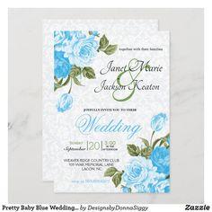 Flower Invitation, Floral Wedding Invitations, Zazzle Invitations, Invitation Design, Wedding Flower Design, Blue Wedding Flowers, Wedding Designs, Blue Roses, Blue Flowers