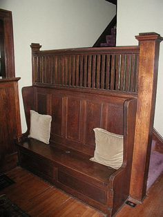 Craftsman stairs with built-in bench.