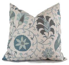 Aqua and Gray Suzani Decorative Pillow Cover 18x18, 20x20, 22x22 or Lumbar Pillow, Accent Pillow, Throw Pillows, Pillow sham