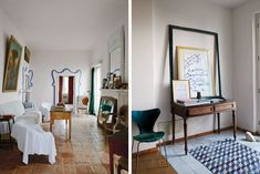 A rarely used sitting room in the main house, where the furniture is covered in muslin sheets and an antique mirror keeps cold air from entering through the fireplace; the entryway of the house where Del Roscio now stays when he is in Gaeta, with a chair by Arne Jacobsen, 18th-century Neapolitan floor tiles and a poster for a Twombly show at Gagosian Gallery from 2008, framed with a vintage Del Roscio find.