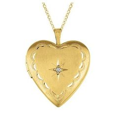 0.01 Carat Heart Shaped Locket with Diamond Necklace Color%3A Sterling Silver