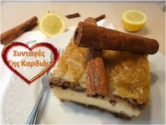 Galaktompoureko with chocolate - Γαλακτομπούρεκο με σοκολάτα Greek Sweets, Confectionery, French Toast, Deserts, Breakfast, Drink, Food, Kitchens, Morning Coffee