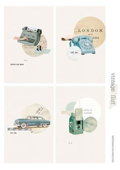 Digital collage cards with vintage objects