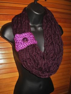 SALE Chunky Plum Infinity Scarf with Accent by TheLittleBarntique