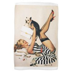 Puppy Lover Pin-up Girl - Retro Pinup Art Towel