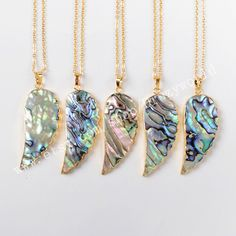 Wholesale Pretty Gold Plated Abalone Shell Carved Wing Necklace Rainbow Shell Necklace Peacock Sea Shell Feather Gemstone Jewelry G0474-N by Druzyworld on Etsy