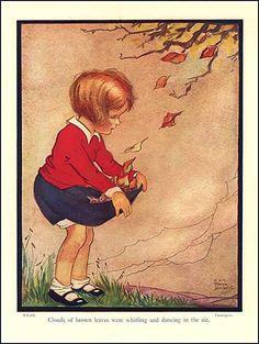 Vintage 1930s Storybook Illustration Print, Little Girl Gathers Autumn Leaves by Marsh Lambert