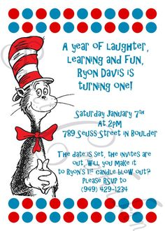 Dr. Seuss Cat In The Hat   DIY birthday party invitations