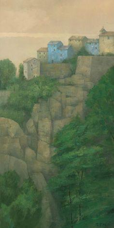 Hilltop Village, Corsica. Original Painting. $750,00, via Etsy.