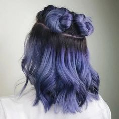 131 perfect purple hair color & hairstyle design ideas – page 1 Cute Hair Colors, Hair Color Purple, Hair Dye Colors, Cool Hair Color, Light Blue Ombre Hair, Pastel Hair Colors, Hair Color Ideas, Periwinkle Hair, Short Blue Hair