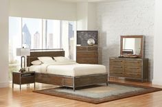 """5 pc Arcadia collection industrial style weathered acacia wood and metal framed edges bedroom set.  This set includes the Bed, nightstand, dresser, mirror and chest.  Queen bed measures 83.25"""" x 63"""" x 47.75"""" H.  Nightstand measures 23.5"""" x 15.75"""" x 20"""" H.  Dresser measures 57"""" x 17.75"""" x 34.5"""" H.  Mirror measures 40"""" x 1"""" x 34"""" H.  Chest measures 35.5"""" x 20.25"""" x 54.25"""" H.  Some assembly required"""