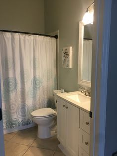 New vanity, with a side set sink bowl, new light and fresh paint. Cypress Pine, Sink, Vanity, Curtains, Fresh, Shower, Sink Tops, Dressing Tables, Rain Shower Heads