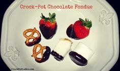 Creamy, Delicious, Hot yummy Crock-Pot Chocolate Fondue that will melt in your mouth. Dip Strawberries, Angel Food cake, Pretzels and Marshmallows.