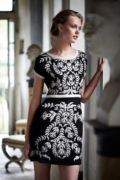 Anthropologie-Maeve-Embroidered-Obra-Shift-Dress-Silk-Black-Cream-S-P-198