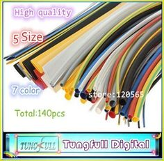 280pcs 2:1 Heat Shrink Tubing Tube Sleeving Tube Assortment Sleeving Wrap Wire 5 Color 8 Size by ttnight Heat Shrink Tubing
