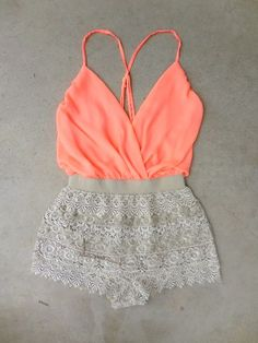 Peach Lace Short Romper.. all its missing is a tan and some white wedges.... | Street Fashion