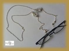 #Brillenkette echte #Pusteblumen silber von bigXel-Naturschmuck und Wollkunst auf DaWanda.com
