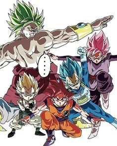 Super Saiyan Gotenks, Legendary Super Saiyan Broly, Super Saiyan God Goku, Super Saiyan Blue Vegeta, and Super Saiyan Rose Goku Black