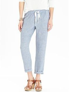 Womens Linen-Blend Cropped Pants