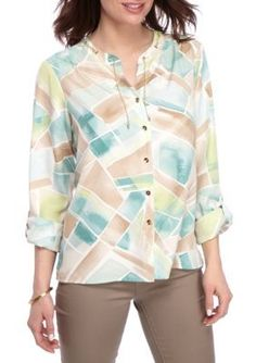 Alfred Dunner Multi Ladies Who Lunch Stained Glass Woven Top