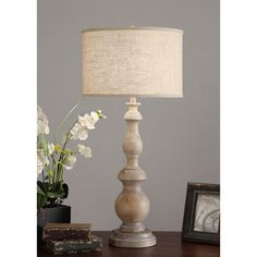 """@Overstock.com - Latte Grand  38"""" Oversized Table Lamp - This beautiful table lamp is constructed of wood with a milky washed finish. This 1-light lamp is finished with a switch and a fabric drum shade.  http://www.overstock.com/Home-Garden/Latte-Grand-38-Oversized-Table-Lamp/7411415/product.html?CID=214117 SGD              207.30"""