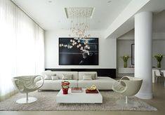 Deckendesign wohnzimmer ~ Hohe decke design minimalistisch ando studio wohnzimmer hohe