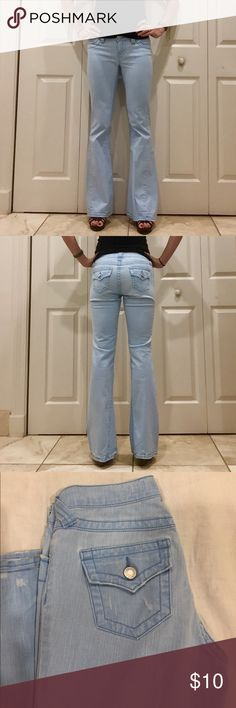 Victoria's Secret London Flare Jeans in Light Blue Victoria's Secret London Jeans. There are light blue, a pastel light blue. A great color for the spring. Flare style. Perfect for heels. Jeans have a distressed style. Sketchy fabric makes the jeans very comfortable. Jeans are several years old but were rarely women. Slight wear on the bottom as shown in pictures. Victoria's Secret Jeans Flare & Wide Leg