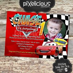 DISNEY CARS Custom Photo Birthday Invitation - Digital File, You Print - 5x7 - Words Customizable