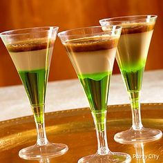 St. Paddy's Day Drinks  The Dirty Leprechaun  1 Part Midori 1 Part Baileys Irish Cream 1 Part Jager  Layer in this order for shooters