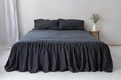 Charcoal linen bedskirt. Linen ruffled coverlet. King size bedskirt. Queen size bedskirt. Linen bedskirt.