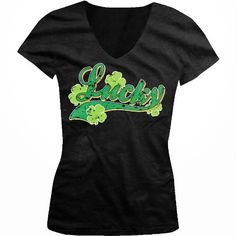 Lucky Four Leaf Clovers Ladies Junior Fit V-neck T-shirt Funny St. Patricks Day Design Juniors V-Neck Tee (Black Medium)
