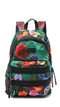 A luxe Marc by Marc Jacobs x Disney® backpack, rendered in silky satin and covered with a bright floral print inspired by Alice in Wonderland. | Marc by Marc Jacobs Domo Arigato Garden Packrat Backpack