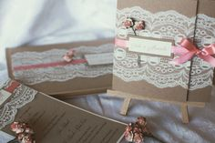 Vintage coral lace wedding invitations. Made by me 💜