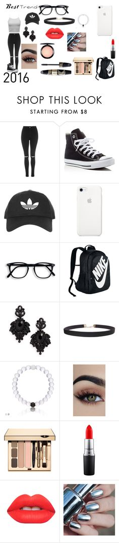 """The Rave"" by dimond-crush ❤ liked on Polyvore featuring Topshop, Converse, NIKE, Tasha, Humble Chic, MAC Cosmetics, Lime Crime and Max Factor"