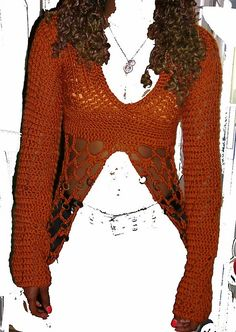 Flapper Hat, Diy Tops, Plunging Neckline, Crochet Clothes, Crochet Hooks, Bell Sleeve Top, Feminine, Erika, Pattern