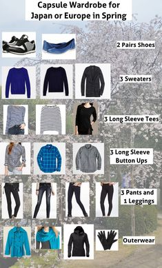New travel japan outfit spring packing lists Ideas Japan Spring Outfit Travel, Spring Outfits Japan, Japan Outfits, Japan Travel, Fall Outfits, Europe Spring, Travel Clothes Women, Capsule Wardrobe, Capsule Outfits