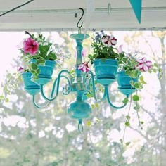 Don't throw away your broken Chandelier, you can used for plants! Super cute idea