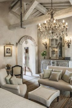French Country Bedrooms, French Country Living Room, Bedroom Country, Bedroom Rustic, Country Interior, Farmhouse Interior, Gray Bedroom, Master Bedroom, Tuscan Decorating