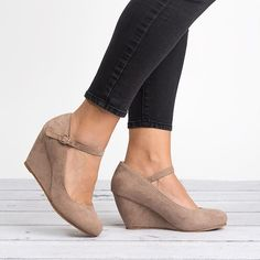 Mary Jane Wedge Pump - I want these, but preferably with a slightly shorter heal to allow for walking around the hospital
