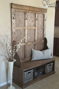 Wooden Bench with Storage Underneath..I need something like this by my front door!