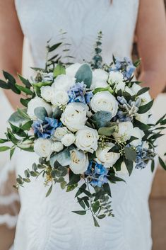 Wedding Bouquet, Bridal Bouquet, White and Blue Bouquet flowers bouquet Austin and Madison Wedding Day Blue Wedding Flowers, Bridal Flowers, Flower Bouquet Wedding, Floral Wedding, Lace Wedding, Wedding Rings, Wedding Blue, Blue Wedding Bouquets, Bridesmaid Bouquets