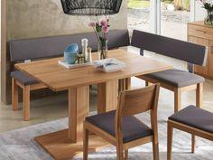 Eckbank Treva in vielen Größen und Holzarten einfach konfigurierbar.