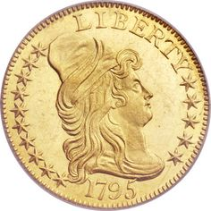Draped Bust - 1795 LARGE EAGLE $5 MS. The famous and rare 1795 Heraldic Eagle five dollar gold pieces were actually struck in 1797 or 1798 when the new reverse design was first introduced to the half eagle series.