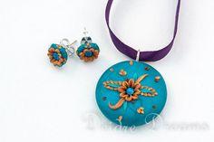 Bridal Flower Teal Gold Boho Hippie Pendant by DeidreDreams, $43.00