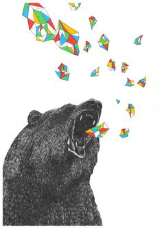 Love the combination of geometric shapes and bear drawing