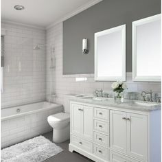 """You'll love the Ellinger 60"""" Double Bathroom Vanity Set at Birch Lane - With Great Deals on all products and Free Shipping on most stuff, even the big stuff. Vanity Set, Vanity Ideas, Bathroom Furniture, Bathroom Interior, Dyi Bathroom, Bathroom Mirrors, Bathroom Designs, Bathroom Hardware, Rustic Furniture"""