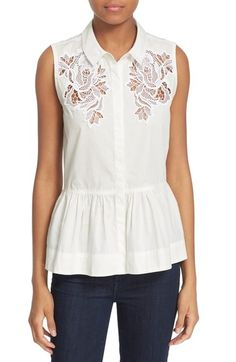 Rebecca Taylor Lace Inset Sleeveless Cotton Poplin Shirt available at #Nordstrom