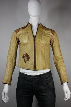 East West leather jacket vintage s camel handmade musical instruments co vtg