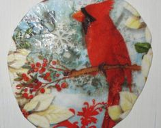 Birds & Holly Sand Dollar Ornament by BarbsCraftyTreasures on Etsy